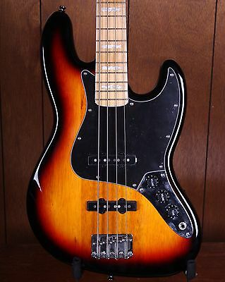 Squier Vintage Modified 77 Jazz Electric Bass Guitar 3-Tone Sunburst