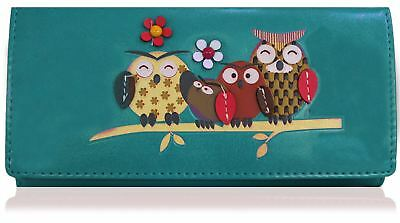 Owl Family Tree Pattern Large Size Ladies Purse Clutch Wallet Free P&P