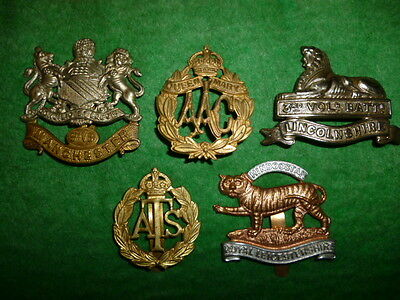Beginner's Lot # 2 of (5) British Army Suspected Restrike Cap Badges, WW1/WW2