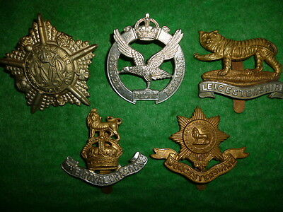 Beginner's Lot # 4 of (5) British Army Suspected Restrike Cap Badges, WW1/WW2