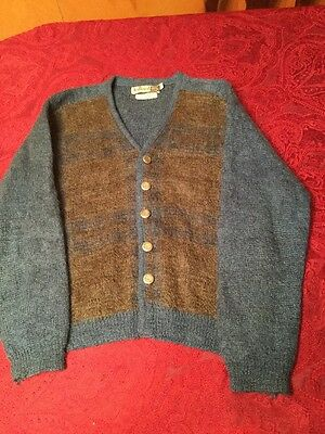Rare Vintage WOOL Mohair  PANEL & BUTTON Men's 1950s JUILLIARD Blue Sweater SZ M