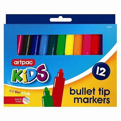 12 x Markers Washable Bright Colouring Pens School Stationery bullet Tips Kids