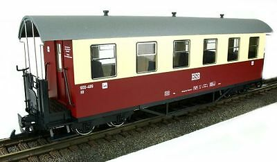 Train Line45 passenger car HSB red-beige, 6 Window, G Scale, for LGB Clutch
