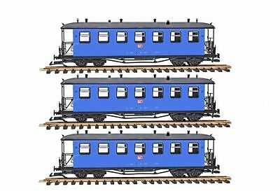Train Set 3 Passenger car, Arched roof, blue, G Scale, for LGB Clutch