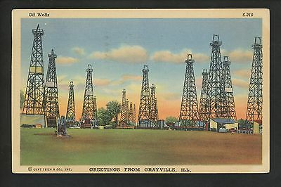 Industry Oil postcard Illinois IL, OIl Rigs at Grayville linen Curt Teich