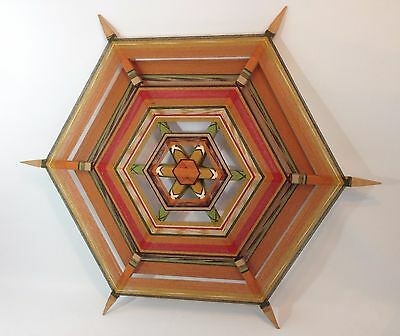 Unique Vintage Hexagon Yarn Wall Textile Wall Art Hanging