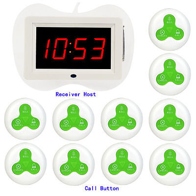 New 10Pcs Call Transmitter Button+1* Receiver Host for Restaurant Calling System
