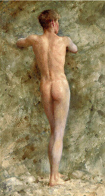 Handcraft Portrait Oil Painting on Canvas,nude young boy after bathing 24x48inch