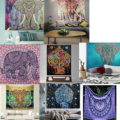 Indian Hippie Mandala Tapestry Elephant Wall Hanging Bedspread Throw Blanket Rug