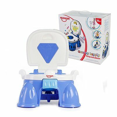 New Toddler Portable Musical Baby First Potty Chair Training Toilet Seat Blue