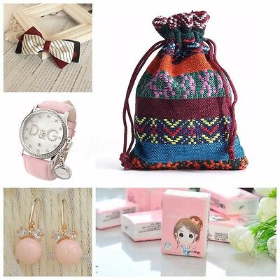 10Pcs Velvet Bunt Tribal Tribe Drawstring Jewellery Gift Wrapping Bags Pouches