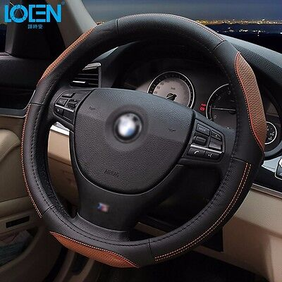 "Genuine Leather Car Sedan Steering Wheel Cover Set 15"" Black Bown Universal fit"