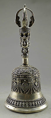 China's Old Tibet silver buddhist sculpture of Buddha exorcism clock multiplier