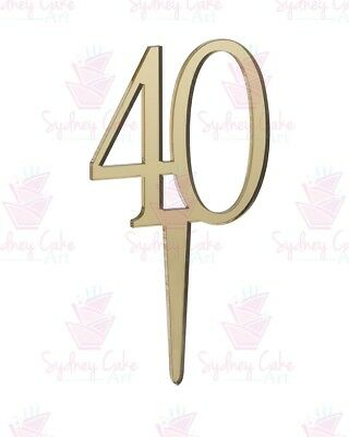 40th Birthday Cake Topper - Mirror Gold 5.5cm