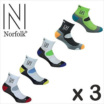 3 x Mens Norfolk  Running / Jogging Ankle Sport Socks (3 Pairs Total) -Abrahams