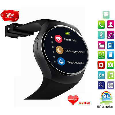 Black KW18 Smart Watches Bluetooth 4.0 Heart Rate Monitor for Android IOS Phone