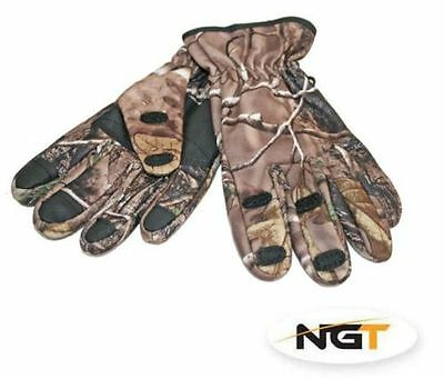 NGT Fold Over Camo Fishing Gloves X Large Carp Course Pike Sea Boat Fishing