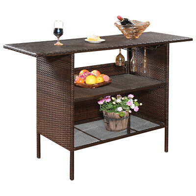 Outdoor Rattan Wicker Bar Counter Table Shelves Garden Patio Furniture Brown NEW