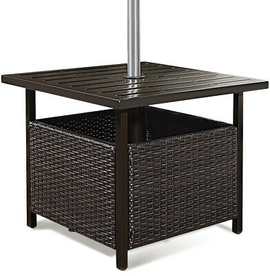 Brown Rattan Wicker Steel Side Table Outdoor Furniture Deck Garden Patio Pool