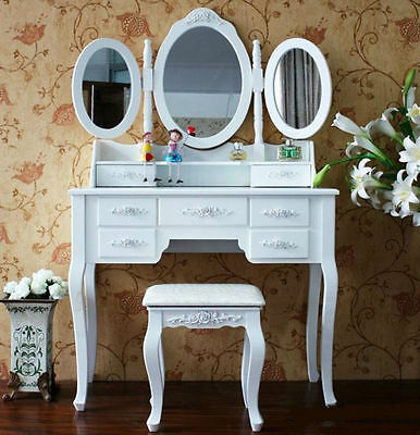New 7 Drawers Luxury 3xMirror Jewellery Wooden Dressing Table Organsier & Stool