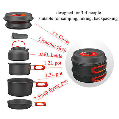 1-2/3-4 Person Cooking Camping Cookware Outdoor Pots Frying Pan Kettle Set OG