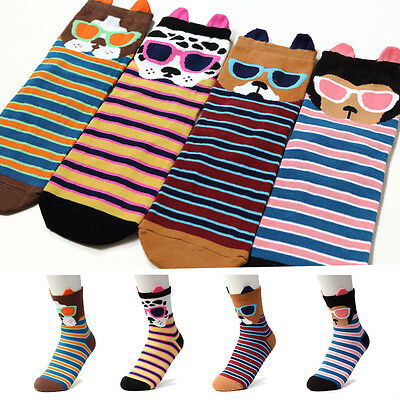 4Pairs=1Pack Sunglass Puppy Women Woman Girl Character Funny Socks Made In Korea