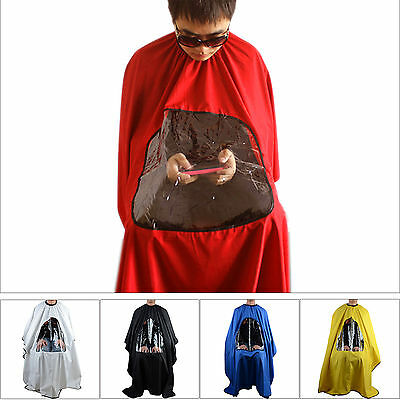 Red Hair Cutting Cape Pro Salon Barber Hairdressing Gown with Viewing Window qw