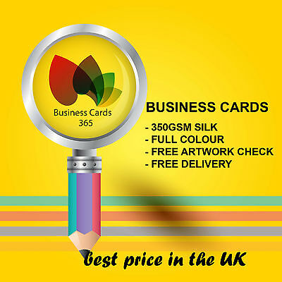 100 x Business Cards Double Sided Printed Full Colour on 350gsm Silk