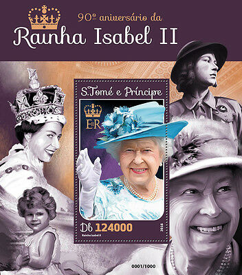 Sao Tome & Principe 2016 MNH Queen Elizabeth II 90th Bday 4v M/S Royalty Stamps