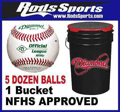 5 Dozen Diamond DOL1-NFHS Baseballs High School Approved NFHS Stamp with Bucket