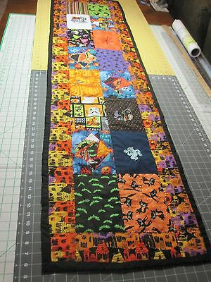 """Handcrafted Crazy Quilt Halloween Embroidered Table Runner 17""""x 64""""  NEW"""