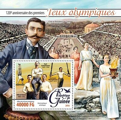 Guinea 2016 MNH First Olympic Games 120th Anniv 1v S/S Coubertin Olympics Stamps
