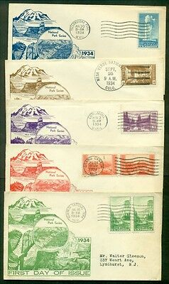 US #740-9 National Parks FDC's, Complete set, Dyer cachets, VF, Mellone $150.00
