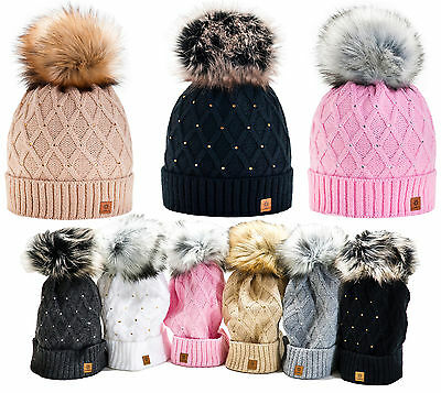 Women Winter Beanie Hat Wool Knitted CRYSTAL Ladies Fashion Large Fur Pom Pom