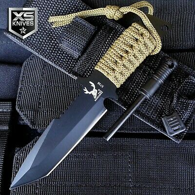 "7"" Tactical Survival Tanto Blade Bowie Hunting Camping Knife w/ FIRE STARTER"