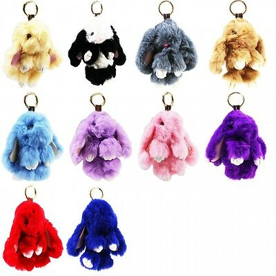 Rabbit Real Fur Ball PomPom Cell Phone Car Keychain Pendant bag Charm Key Ring