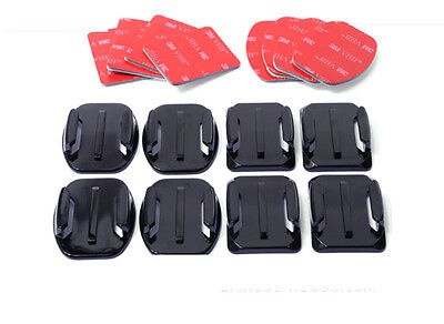 Fit GoPro Hero 3+ 4 5 Flat Curved 3M Adhesive Sticky Mounts Pads Accessories x8