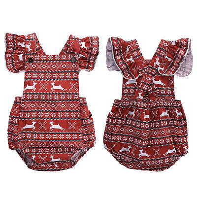 Christmas Infant Baby Girl Deer Cotton Romper Jumpsuit Outfit Sunsuit One-pieces
