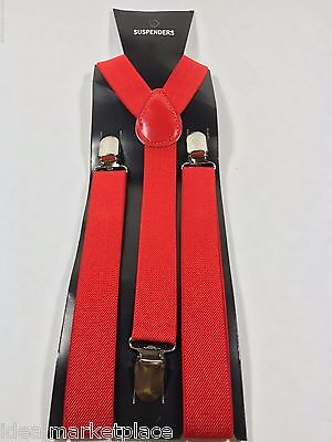 New Red Mens Womens Clip-on Suspenders Elastic Y-Shape Adjustable Braces