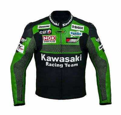 Kawasaki Green Racing Motorbike Leather Jacket Ce Approved Protection