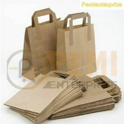 25 Small Brown Kraft Craft Paper Sos Carrier Bags Lunch Dinner Take Away