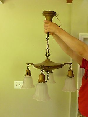 Antique Pan Chandelier Vintage 1920's Ceiling Light Fixture Art Nouveau 4 Shades
