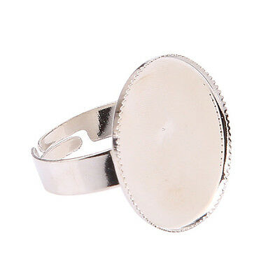 * Single Silver Plated Adjustable Ring Blank (For A 20Mm Round Cabochon)