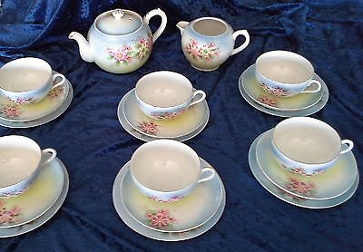 Vintage tea set 6 trios tea pot milk jug fine egg shell china pretty floral VGVC