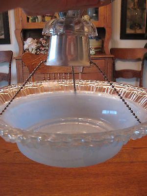 Vintage 30s-40s Glass Ceiling Light Fixture Hanging Blue Shade