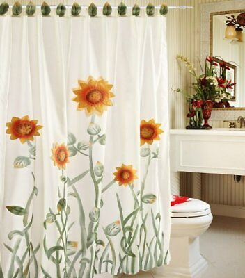 Chezmoi Collection 3D Sunflower Shower Curtain w Liner and 12-Hook, White Green