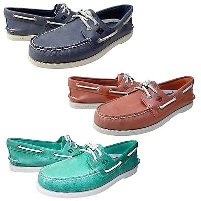 Sperry Top-Sider Mens A/O 2 Eye White Cap Lace Moc Toe Casual Boats Shoes
