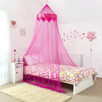 Princess Bed Canopy Pink Netting with Satin Pink Panel Ideal Gift for Girls