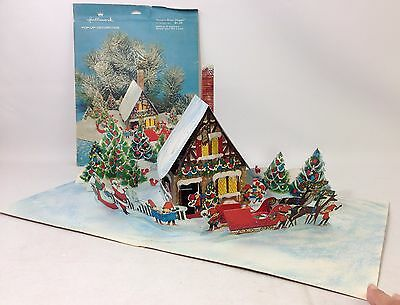 Vintage Hallmark Santa Work Shoppe Reindeer Christmas Trees Pop Up