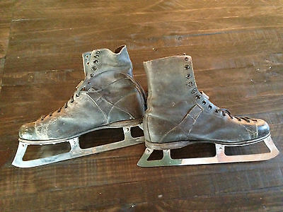 Vintage Antique Hockey Skates Primitive Early 1900's Very Nice